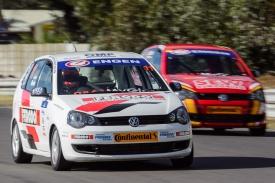 Racing driver Daniel Rowe races down the back straight of Killarney race track.