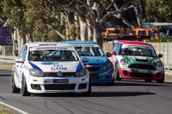 Racing driver Charl Smalberger races down the back straight at Killarney in Cape Town.