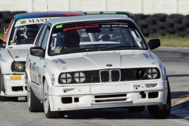 Racing driver Natius Geyser negotiates the esses at Aldo Scribante Raceway.