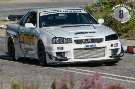 A Nissan Skyline in action.