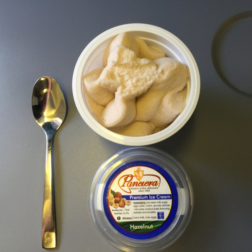 Dessert on the Jhb to Singapore leg was Hazelnut ice cream. Frozen solid too - I wonder if they left them outside considering the temperature of the plane's outer skin was -50 Celsius.