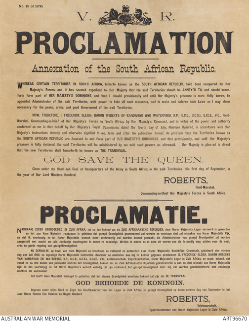 British Proclamation annexing the South African Republic