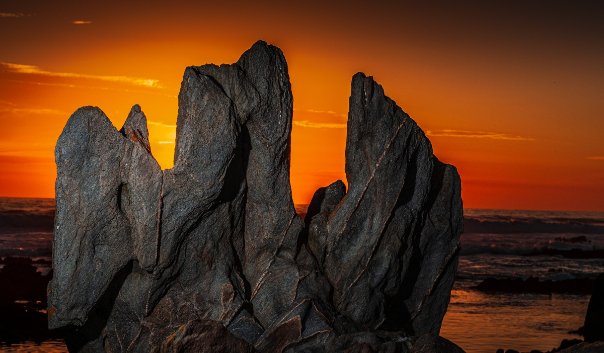 A rock at sunset