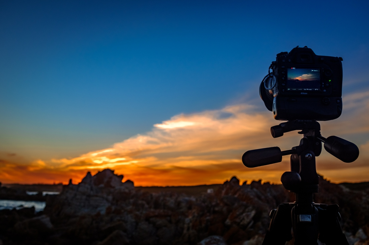 Photo on a tripod, facing sunset