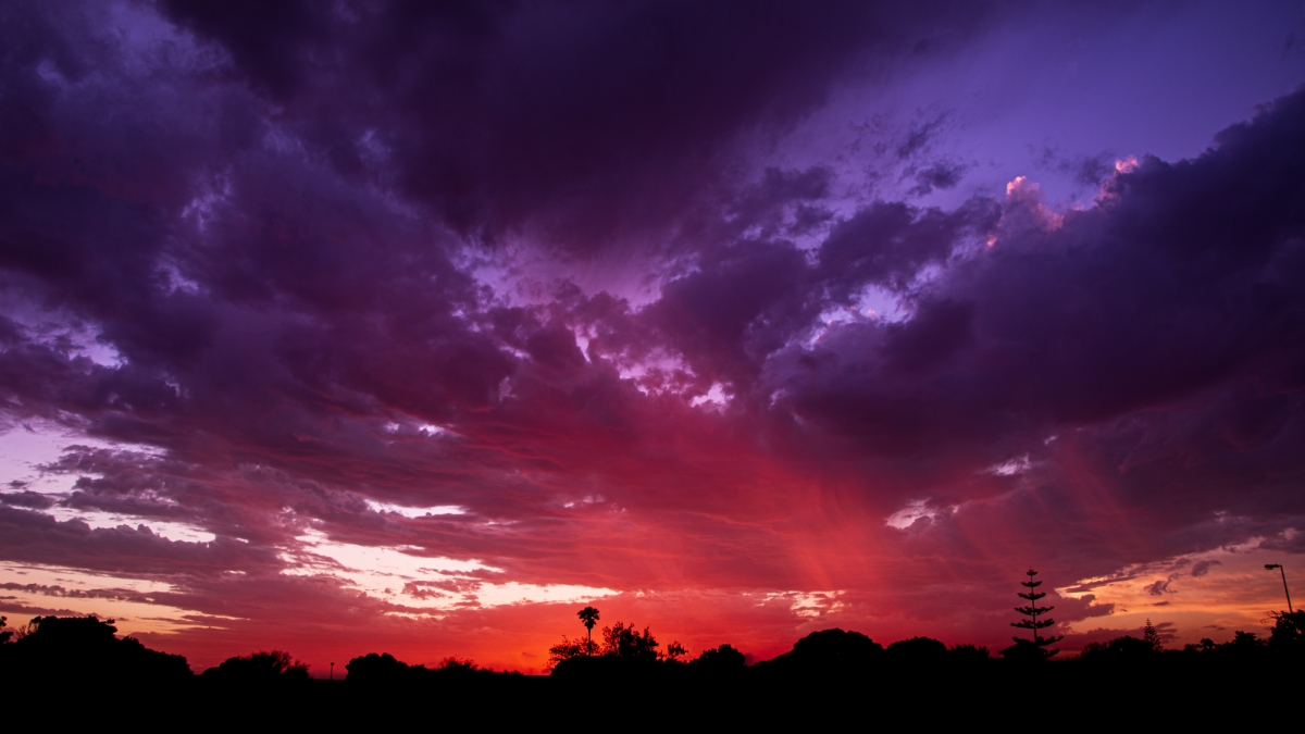 sunset with red and purple