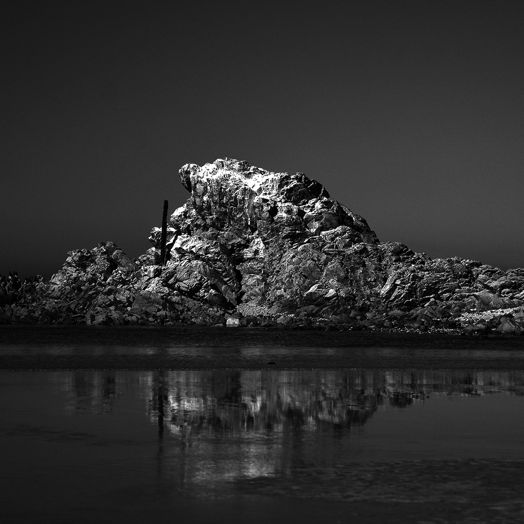black and white rock photo